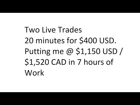 Two Live Trades - 20 minutes for $400 USD. Putting me @ $1,150 USD / $1,520 CAD in 7 hours of Work