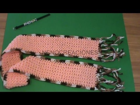 1 DE 2 COMO TEJER BUFANDA TRIDIMENSIONAL DECORADA GANCHILO CROCHET , YouTube