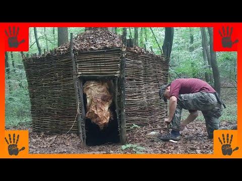 Amazing Long-Term Survival Hut, Rammed-Earth Walls, Debris Roof