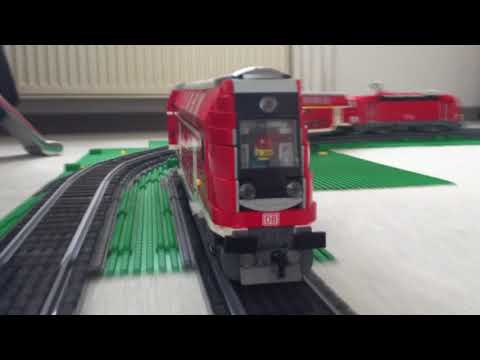 LEGO custom Regional Express on R88/R104 curves and R104 switch