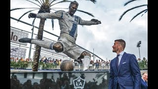 David Beckham statue unveiled by LA Galaxy