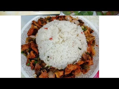 Chicken chilli dry with vegetables fried rice