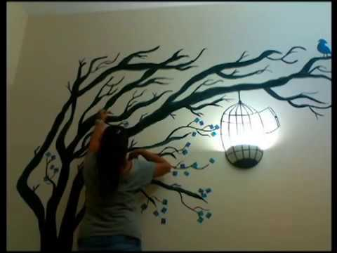 Painting a windy tree pintando un arbol youtube - Como pintar una pared ya pintada ...