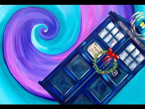 Doctor Who Dunnit Art Crawl  Easy Acrylic Painting Tardis