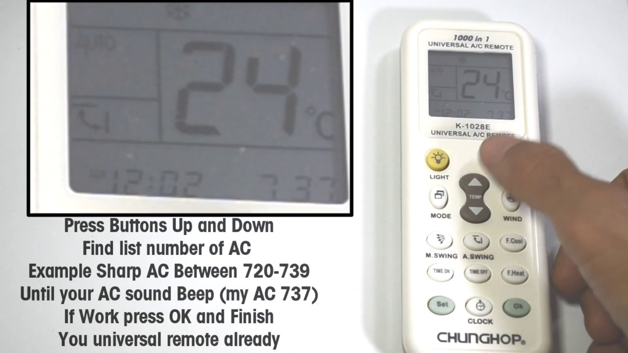 Setting Universal Remote Control Ac Chunghop K 1028e Setup First