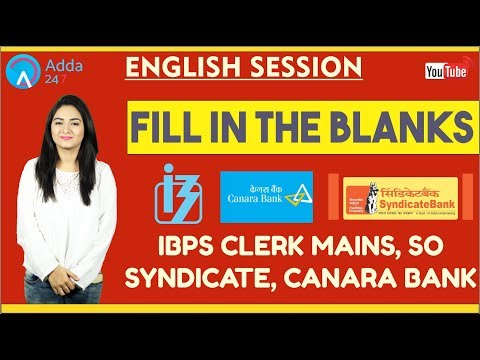 Fill in The Blanks | English | SYNDICATE, IBPS CLERK MAINS, CANARA BANK