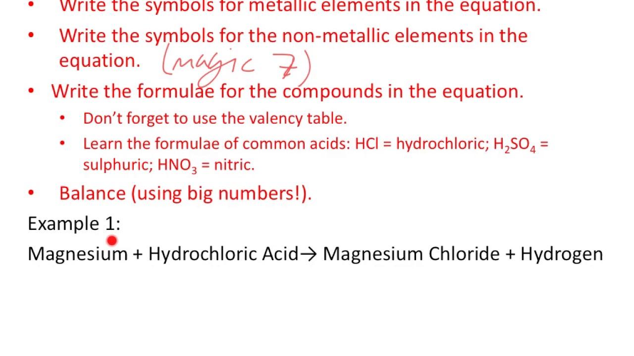 Igcse Chemistry Turning Word Equations Into Symbol Equations Youtube