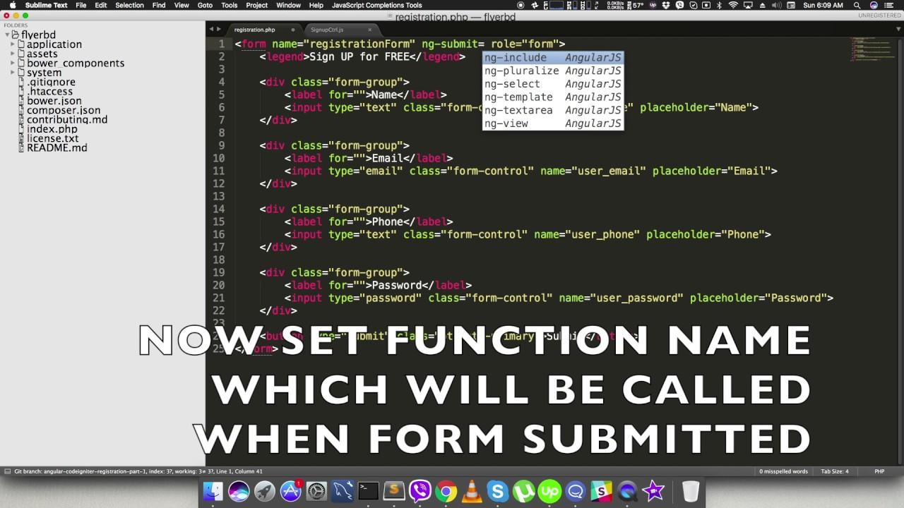 Angular Codeigniter Registration Part 1 Youtube