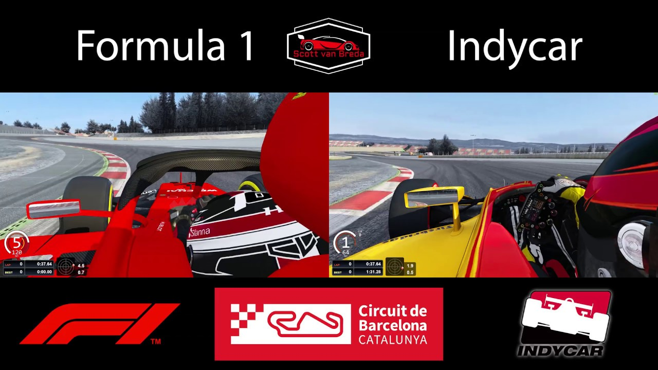 Formula 1 VS Indycar | Side by Side Comparison at Catalunya | Assetto Corsa | 4K