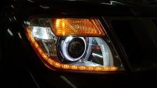 Nissan Pathfinder тюнінг і ремонт фар установка ДХО, ангельських глазок і світлодіодних модулів Optima