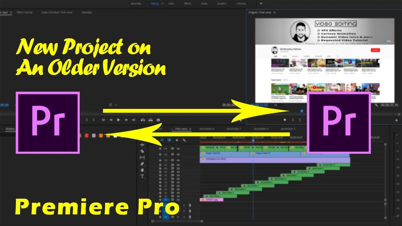 Adobe Premiere Pro Open a New Project on an Older Version ! Export a Video  in Adobe Premiere Pro