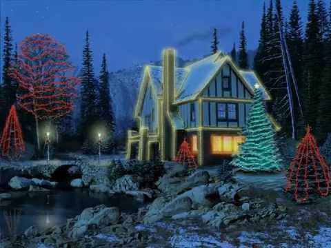 3d Moving Fireplace Wallpaper 3d Christmas Cottage Screensaver Youtube