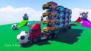 学习颜色越野车运输W蜘蛛侠汽车卡通儿童颜色的孩子视频