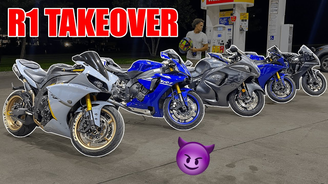 Download Hyabusa Rider Thinks He Can Hang With Yamaha R1's...| Yamaha R1 Exhaust, Top Speed & Wheelies