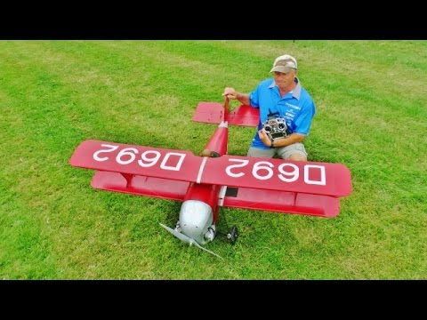 "1/3 SCALE ""FLITZER Z21"" RC BIPLANE - ZENOHA 26cc - KEN BONES AT OLD WARDEN SCALE DAY - 2016"