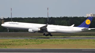 [TOO BIG FOR AIRPORT] Lufthansa Airbus A340-600 | Taxi + Takeoff at Berlin-Tegel TXL