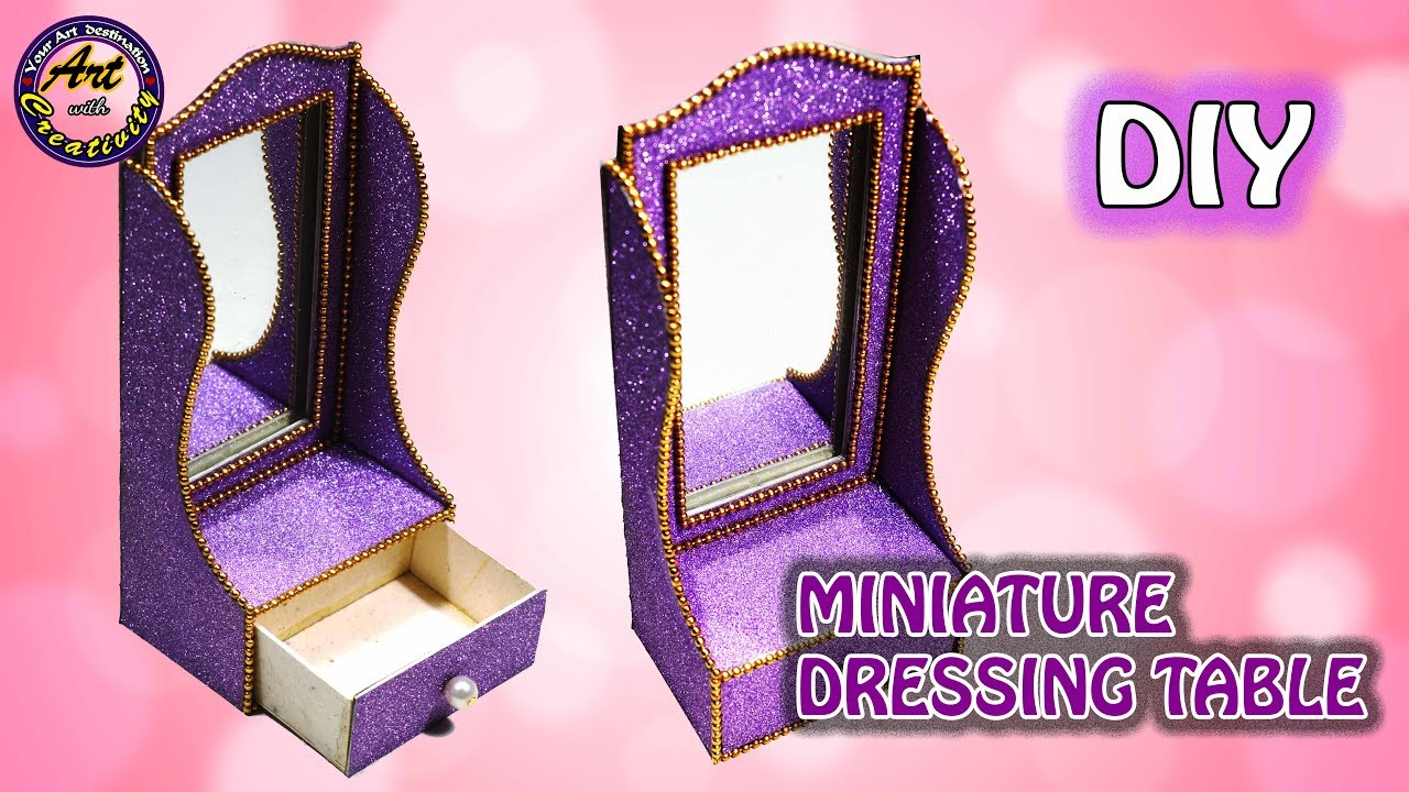 Miniature Diy Dressing Table Miniature Craft Doll House Dressing Table Art With Creativity 228 Youtube
