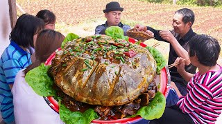 Chao bought a 6kg snapping turtle, he cooked it with bacon, it was better than beef!#ChefChao