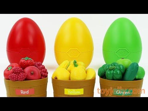 Learn Colors Fruits Vegetables Baskets Gumball Giant Surprise Egg Kinder Joy Toys Kids Play Doh Mold