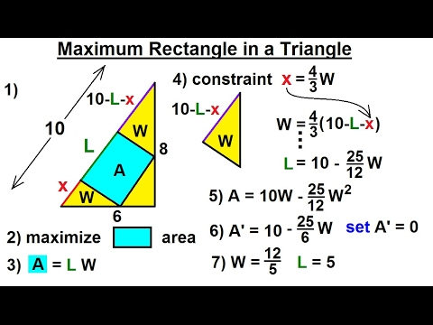 Calculus 1: Max-Min Problems (17 of 30) Maximum Rectangle in a Triangle