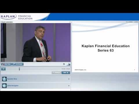 Series 63 Online Class Preview From Kaplan