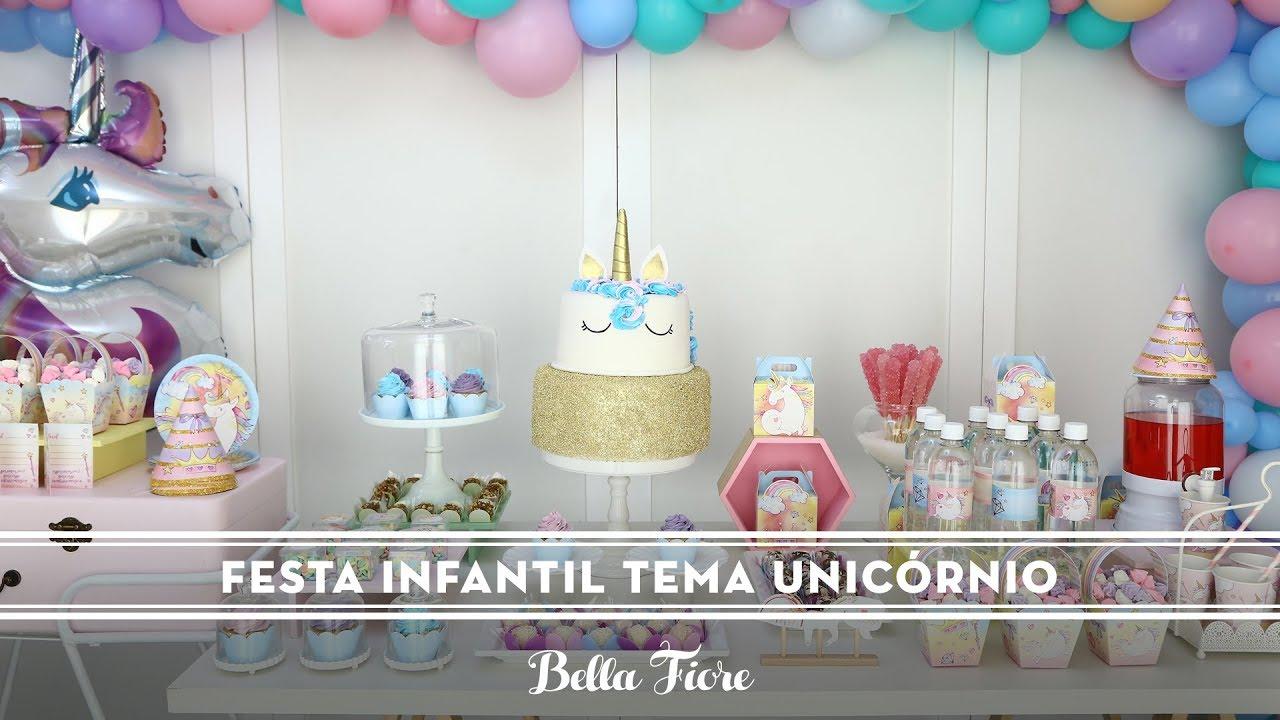 Decoraç u00e3o de Festa Infantil Tema Unicórnio YouTube -> Decoracao De Unicornio Infantil