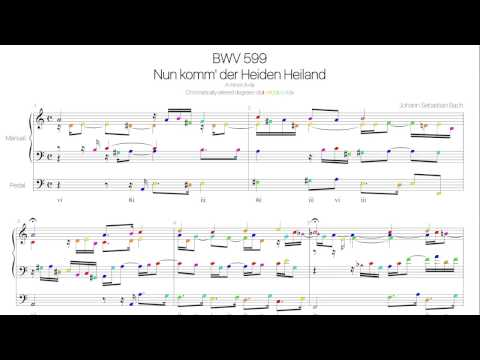 Bach BWV 599 Harmonic analysis with colored notes -Nun komm' der Heiden Heiland-
