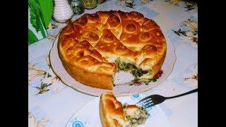 Постный пирог с картофелем,грибами и зеленью.