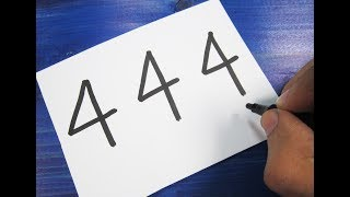How to turn Number 444 into a Cartoon CASTLE ! Learn drawing art on paper for kids