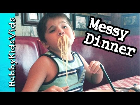 Italian Dinner! Messy Spaghetti Meatballs Buca Di Beppo Restaurant by HobbyKidsVids