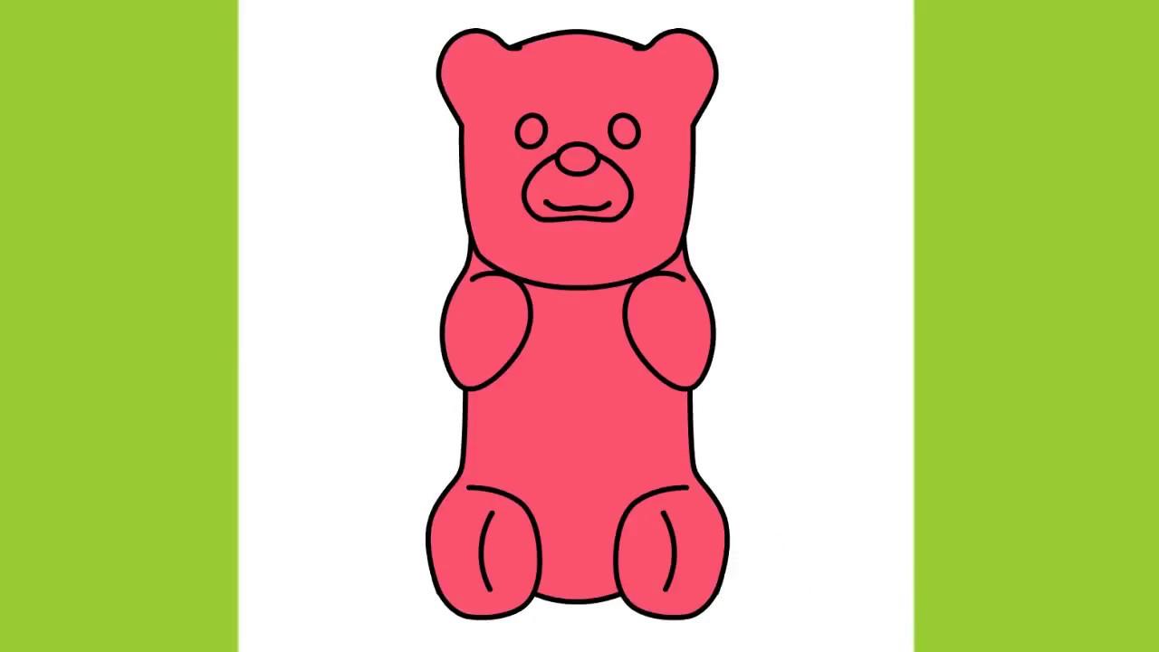 how to draw gummy bear step by step youtube