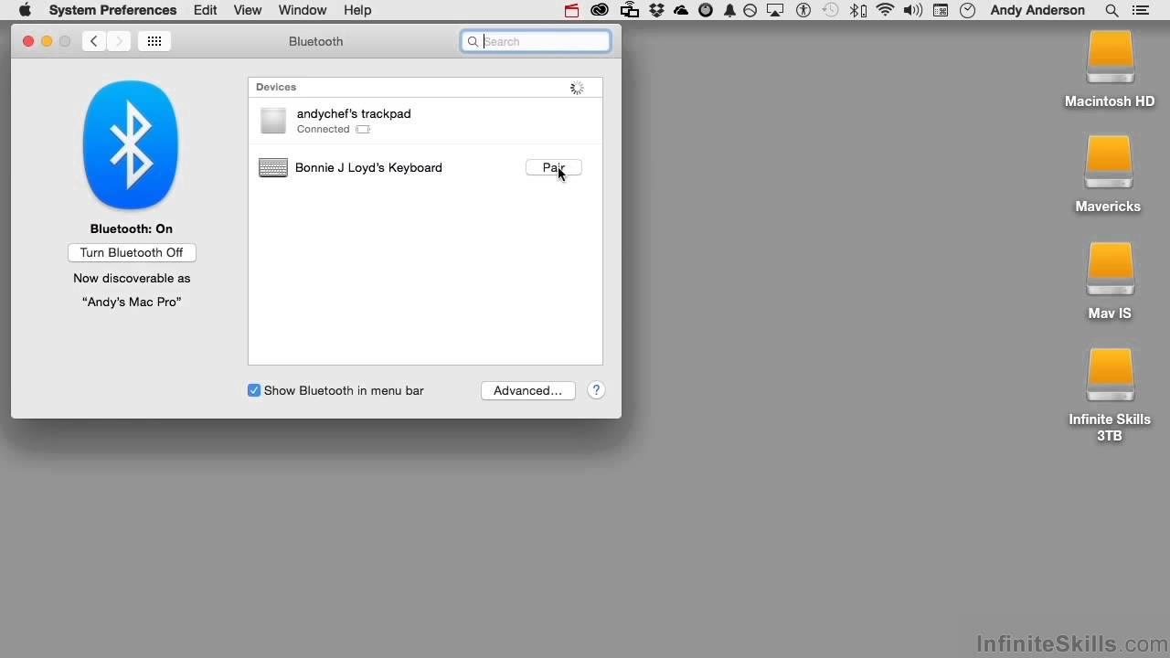 Apple OS X Yosemite Tutorial | Bluetooth Pairing