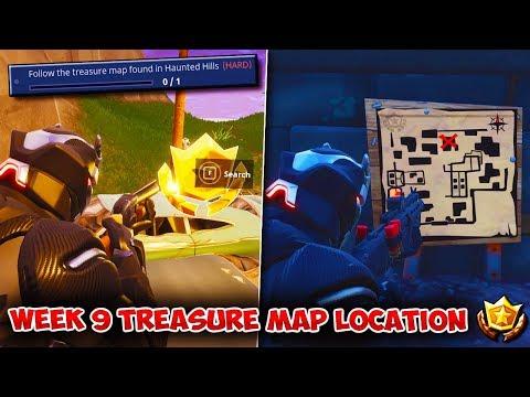 REAL SEASON 4 WEEK 9 TREASURE LOCATION | Follow The Treasure Map Found In Haunted Hills [Challenge]