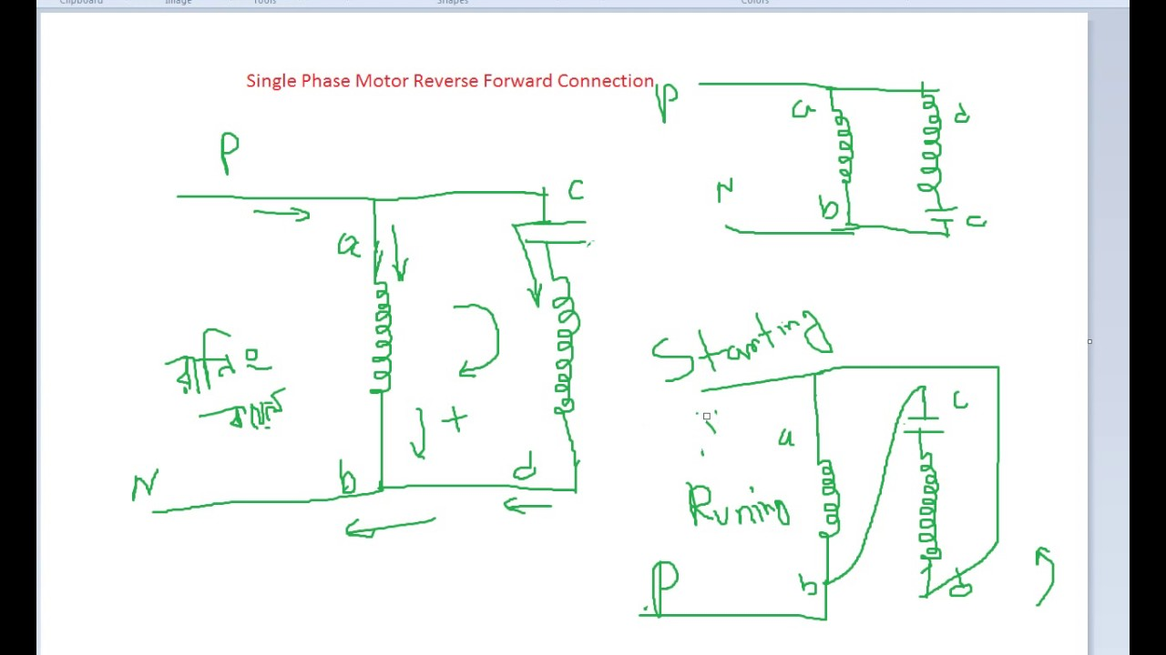 basic connection of single phase motor reverse and forward youtube rh youtube com single phase motor with capacitor forward and reverse wiring diagram pdf single phase ac motor forward reverse wiring diagram