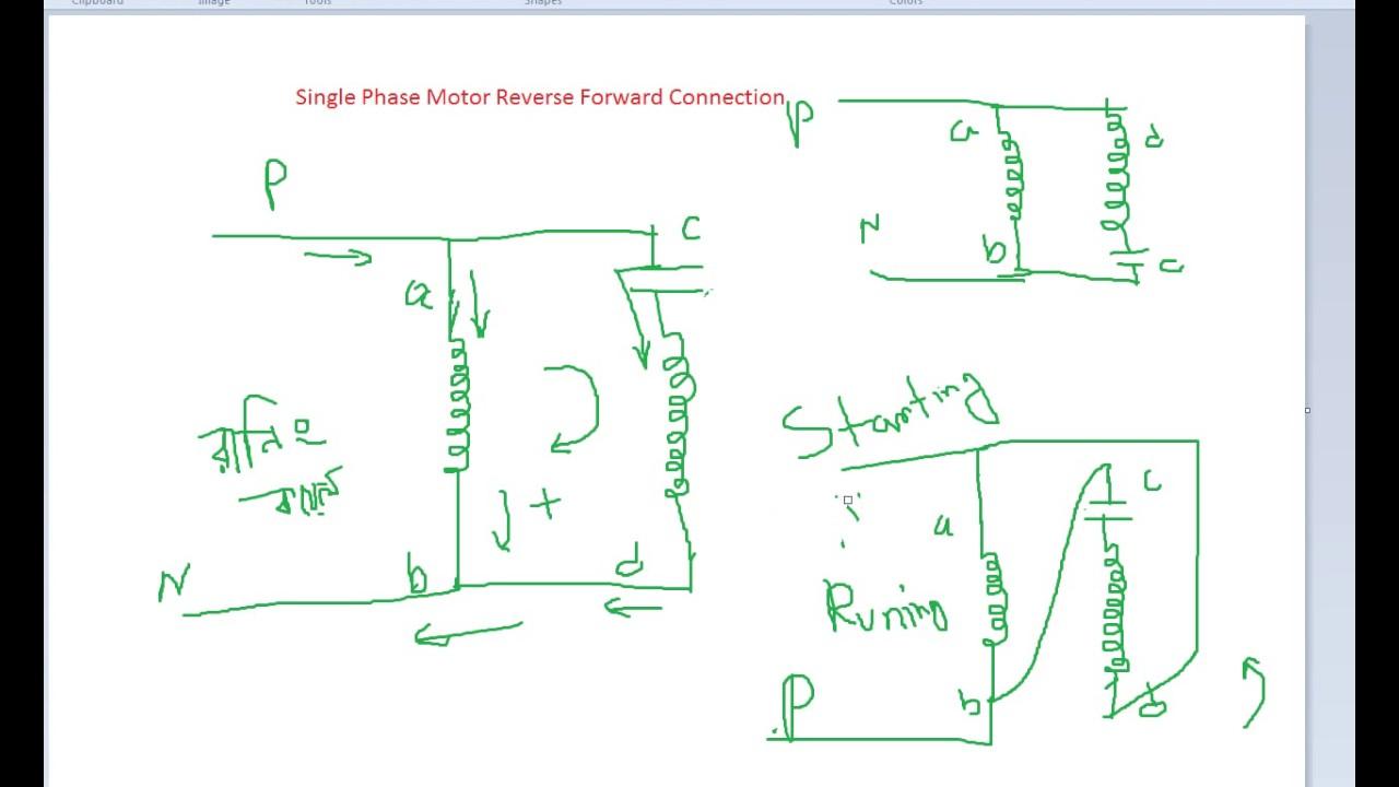 Basic connection of single phase Motor Reverse and forward
