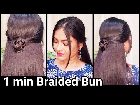 1 Min EVERYDAY Braided Bun Hairstyle for medium long hair//Indian party hairstyles for ethnic dress
