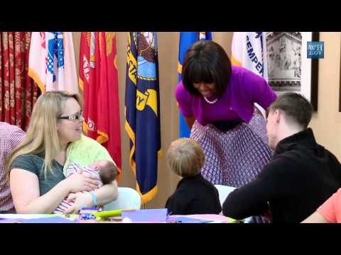 First Lady Michelle Obama Visits the Fisher House