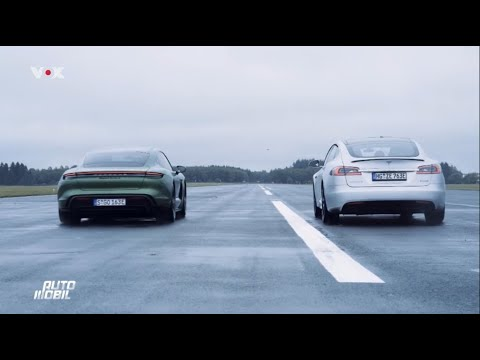 Porsche Taycan meets the Tesla Model S P100D on the drag strip