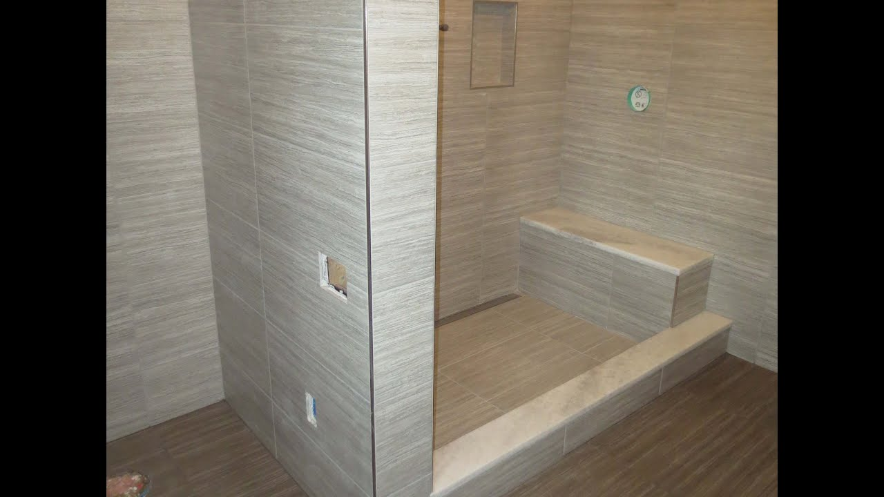 Bathroom Tiles Large start to finish time lapse schluter bathroom kerdi-line linear
