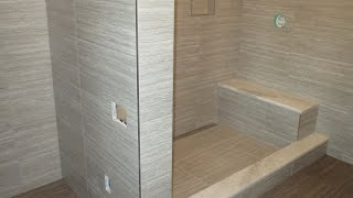 Start to finish Time lapse  Schluter  bathroom Kerdi-line linear drain Ditra heat large format tile.
