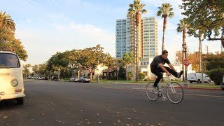 Fixed Gear How-To: One Leg Over the Bars Skid