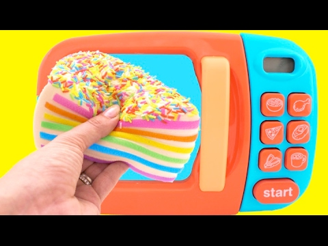 Thumbnail: Toy Microwave Squishy Rainbow Cake Play Doh Learn Fruits & Vegetables with Velcro Toys for Kids