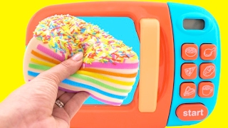 toy microwave squishy rainbow cake play doh learn fruits vegetables with velcro toys for kids