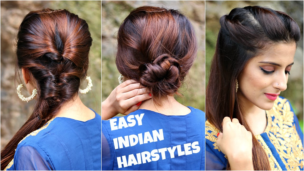 3 anarkali hairstyles for medium/long hair/easy everyday indian hairstyles for navratri / durga puja