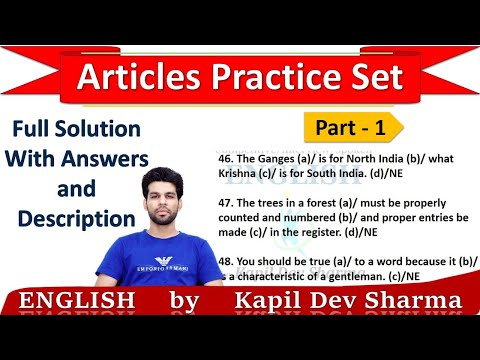 Articles Practice Set Exercise With Answers And Explanation Part - 1 English By Kapil Dev Sharma