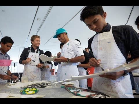 Donuts on the streets of Kuala Lumpur with Lewis Hamilton and Nico Rosberg