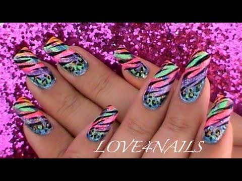 colorful animal prints nail art