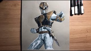 Drawing The White Power Ranger | Timelapse | Jason David Frank | Philcharltonart