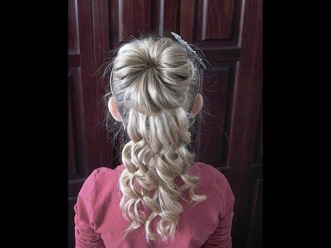 How to do a Hair Half Up Hair Bun Curly Updo  Pretty Hair is Fun  YouTube