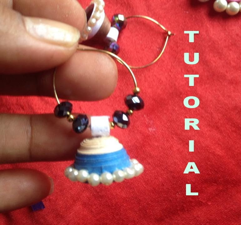 How to make paper quilling jhumkas or earring easy method design-2 ...